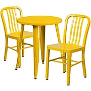 24'' Round Yellow Metal Indoor-Outdoor Table Set with 2 Vertical Slat Back Chairs [CH-51080TH-2-18VRT-YL-GG]