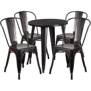 24'' Round Black-Antique Gold Metal Indoor-Outdoor Table Set with 4 Cafe Chairs [CH-51080TH-4-18CAFE-BQ-GG]
