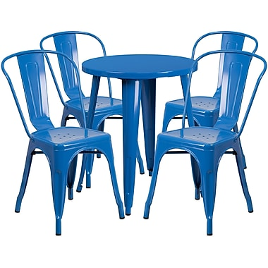 24'' Round Blue Metal Indoor-Outdoor Table Set with 4 Cafe Chairs [CH-51080TH-4-18CAFE-BL-GG]