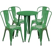 24'' Round Green Metal Indoor-Outdoor Table Set with 4 Cafe Chairs [CH-51080TH-4-18CAFE-GN-GG]
