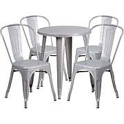 24'' Round Silver Metal Indoor-Outdoor Table Set with 4 Cafe Chairs [CH-51080TH-4-18CAFE-SIL-GG]