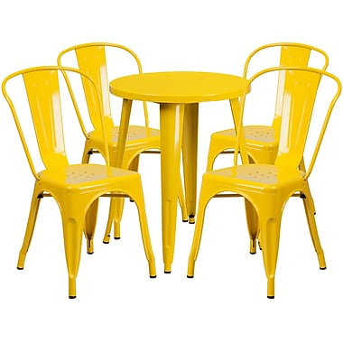 24'' Round Yellow Metal Indoor-Outdoor Table Set with 4 Cafe Chairs [CH-51080TH-4-18CAFE-YL-GG]