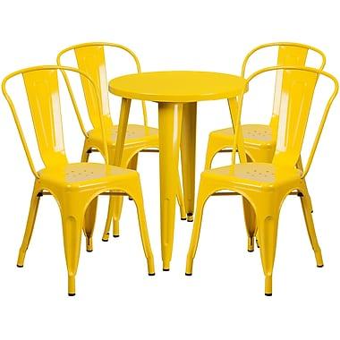 Ensemble avec table ronde en métal jaune et 4 sièges de bistro, intérieur/extérieur, 24 po [CH-51080TH-4-18CAFE-YL-GG]