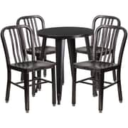 24'' Round Black-Antique Gold Metal Indoor-Outdoor Table Set with 4 Vertical Slat Back Chairs [CH-51080TH-4-18VRT-BQ-GG]