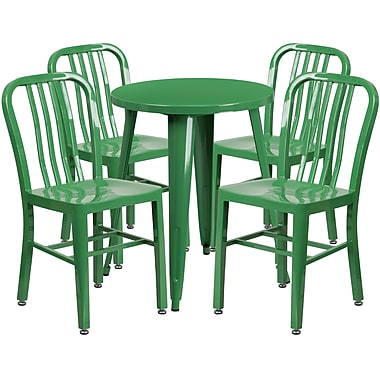 24'' Round Green Metal Indoor-Outdoor Table Set with 4 Vertical Slat Back Chairs [CH-51080TH-4-18VRT-GN-GG]