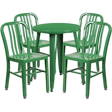 Ensemble de table ronde 24 po en métal vert avec 4 chaises à dossier à lattes verticales, int/ext [CH-51080TH-4-18VRT-GN-GG]