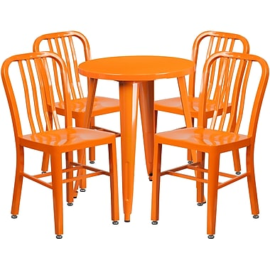 Table ronde de 24 po en métal orange avec 4 chaises à dossier à lattes verticales, int/ext [CH-51080TH-4-18VRT-OR-GG]