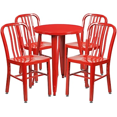 24'' Round Red Metal Indoor-Outdoor Table Set with 4 Vertical Slat Back Chairs [CH-51080TH-4-18VRT-RED-GG]