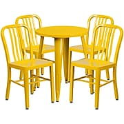24'' Round Yellow Metal Indoor-Outdoor Table Set with 4 Vertical Slat Back Chairs [CH-51080TH-4-18VRT-WH-GG]