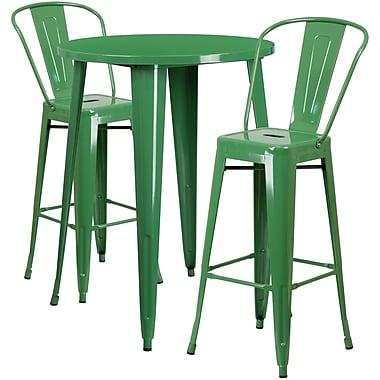 Ensemble de table de bar ronde 30 po en métal vert avec 2 tabourets à café, intérieur/extérieur [CH-51090BH-2-30CAFE-GN-GG]