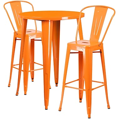 Ensemble de table de bar ronde 30 po en métal orange avec 2 tabourets à café, intérieur/extérieur [CH-51090BH-2-30CAFE-OR-GG]