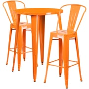 30'' Round Orange Metal Indoor-Outdoor Bar Table Set with 2 Cafe Barstools [CH-51090BH-2-30CAFE-OR-GG]