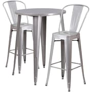 30'' Round Silver Metal Indoor-Outdoor Bar Table Set with 2 Cafe Barstools [CH-51090BH-2-30CAFE-SIL-GG]