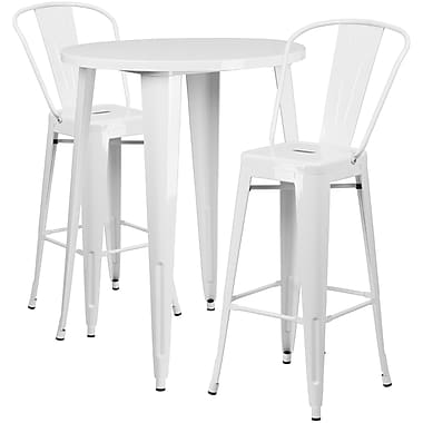 30'' Round White Metal Indoor-Outdoor Bar Table Set with 2 Cafe Barstools [CH-51090BH-2-30CAFE-WH-GG]