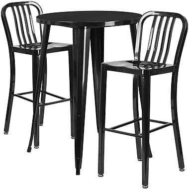 30'' Round Black Metal Indoor-Outdoor Bar Table Set with 2 Vertical Slat Back Barstools [CH-51090BH-2-30VRT-BK-GG]