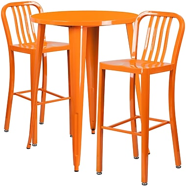 Ensemble de table de bar ronde en métal orange, 2 tabourets à dos lattes verticales, int/ext, 30 po [CH-51090BH-2-30VRT-OR-GG]