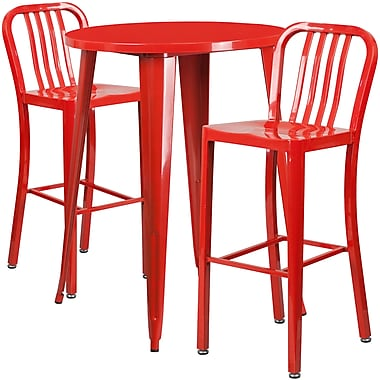 Ensemble de table de bar ronde en métal rouge, 2 tabourets à dos lattes verticales, int/ext, 30 po (CH-51090BH-2-30VRT-RED-GG)