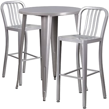 30'' Round Silver Metal Indoor-Outdoor Bar Table Set with 2 Vertical Slat Back Barstools [CH-51090BH-2-30VRT-SIL-GG]