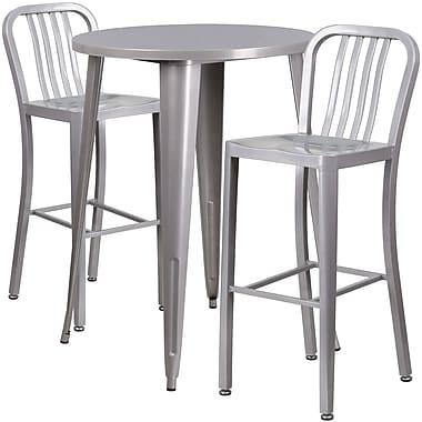 Ensemble de table de bar ronde 30 po en métal argenté, 2 tabourets à dos lattes verticales, int/ext [CH-51090BH-2-30VRT-SIL-GG]