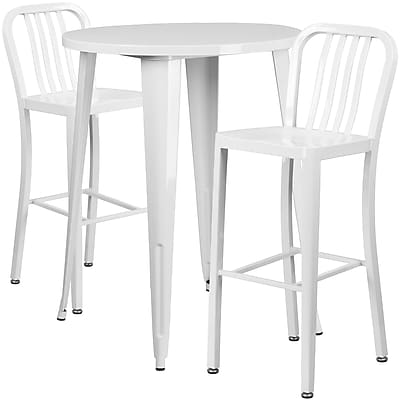 30'' Round White Metal Indoor-Outdoor Bar Table Set with 2 Vertical Slat Back Barstools [CH-51090BH-2-30VRT-WH-GG]