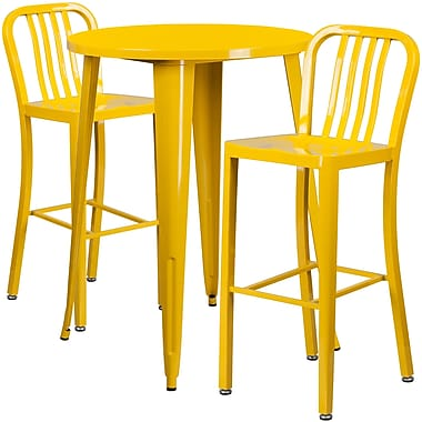 30'' Round Yellow Metal Indoor-Outdoor Bar Table Set with 2 Vertical Slat Back Barstools [CH-51090BH-2-30VRT-YL-GG]