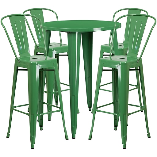 30'' Round Green Metal Indoor-Outdoor Bar Table Set with 4 Cafe Barstools [CH-51090BH-4-30CAFE-GN-GG]