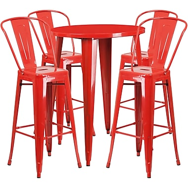 30'' Round Red Metal Indoor-Outdoor Bar Table Set with 4 Cafe Barstools [CH-51090BH-4-30CAFE-RED-GG]