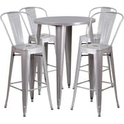 30'' Round Silver Metal Indoor-Outdoor Bar Table Set with 4 Cafe Barstools [CH-51090BH-4-30CAFE-SIL-GG]