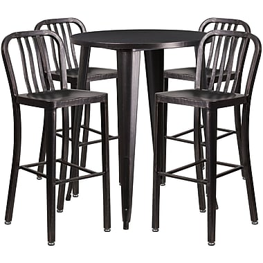 30'' Round Black-Antique Gold Metal Indoor-Outdoor Bar Table Set with 4 Vertical Slat Back Barstools [CH-51090BH-4-30VRT-BQ-GG]