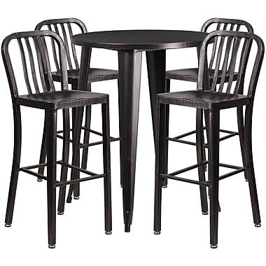 Ens table de bar ronde en métal noir antique/or, 4 tabourets à dos lattes verticales, int/ext, 30 po [CH-51090BH-4-30VRT-BQ-GG]