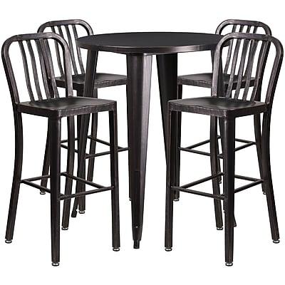 30'' Round Black-Antique Gold Metal Indoor-Outdoor Bar Table Set with 4 Vertical Slat Back Barstools [CH-51090BH-4-30VRT-BQ-GG]