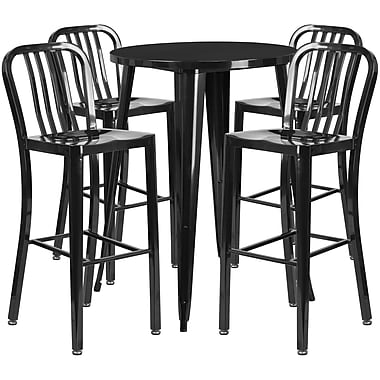 30'' Round Black Metal Indoor-Outdoor Bar Table Set with 4 Vertical Slat Back Barstools [CH-51090BH-4-30VRT-BK-GG]