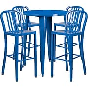 30'' Round Blue Metal Indoor-Outdoor Bar Table Set with 4 Vertical Slat Back Barstools [CH-51090BH-4-30VRT-BL-GG]
