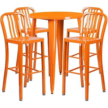 Ensemble de table de bar ronde en métal orange, 4 tabourets à dos lattes verticales, int/ext, 30 po [CH-51090BH-4-30VRT-OR-GG]