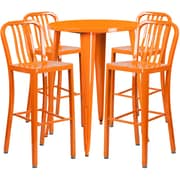 30'' Round Orange Metal Indoor-Outdoor Bar Table Set with 4 Vertical Slat Back Barstools [CH-51090BH-4-30VRT-OR-GG]