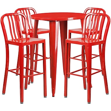 Ensemble de table de bar ronde en métal rouge, 4 tabourets à dos lattes verticales, int/ext, 30 po (CH-51090BH-4-30VRT-RED-GG)
