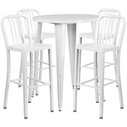30'' Round White Metal Indoor-Outdoor Bar Table Set with 4 Vertical Slat Back Barstools [CH-51090BH-4-30VRT-WH-GG]