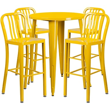 30'' Round Yellow Metal Indoor-Outdoor Bar Table Set with 4 Vertical Slat Back Barstools [CH-51090BH-4-30VRT-YL-GG]