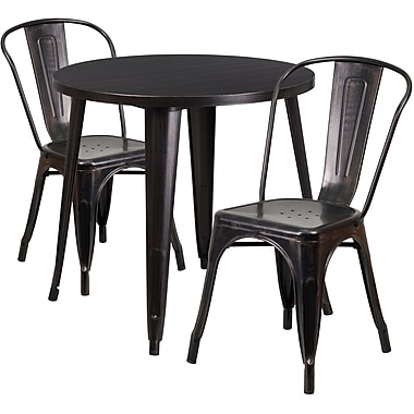 table ronde de 30 po en m tal avec 2 chaises caf. Black Bedroom Furniture Sets. Home Design Ideas