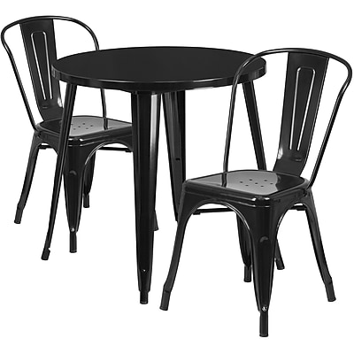 30'' Round Black Metal Indoor-Outdoor Table Set with 2 Cafe Chairs [CH-51090TH-2-18CAFE-BK-GG]