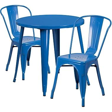Ensemble de table ronde 30 po en métal bleu avec 2 chaises à café, intérieur/extérieur [CH-51090TH-2-18CAFE-BL-GG]