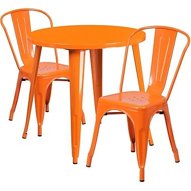 Table ronde de 30 po en métal avec 2 chaises à café, intérieur/extérieur, orange [CH-51090TH-2-18CAFE-OR-GG]
