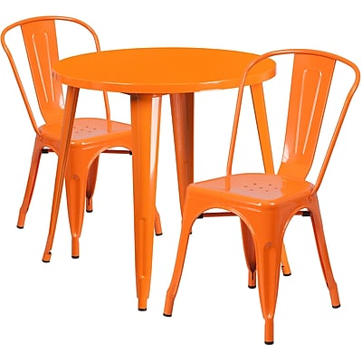 30'' Round Orange Metal Indoor-Outdoor Table Set with 2 Cafe Chairs [CH-51090TH-2-18CAFE-OR-GG]