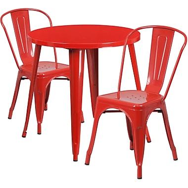 Table ronde de 30 po en métal avec 2 chaises de bistro, intérieur/extérieur, rouge [CH-51090TH-2-18CAFE-RED-GG]