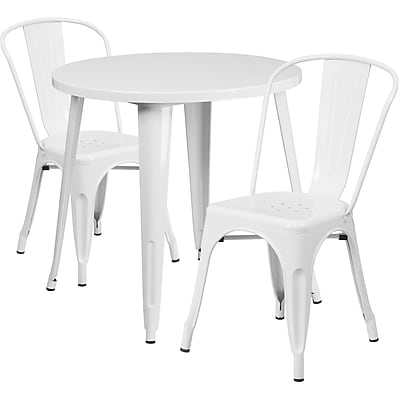 30'' Round White Metal Indoor-Outdoor Table Set with 2 Cafe Chairs [CH-51090TH-2-18CAFE-WH-GG]