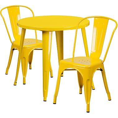 Ensemble avec table ronde en métal jaune et 2 sièges de bistro, intérieur/extérieur, 30 po [CH-51090TH-2-18CAFE-YL-GG]