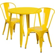 30'' Round Yellow Metal Indoor-Outdoor Table Set with 2 Cafe Chairs [CH-51090TH-2-18CAFE-YL-GG]