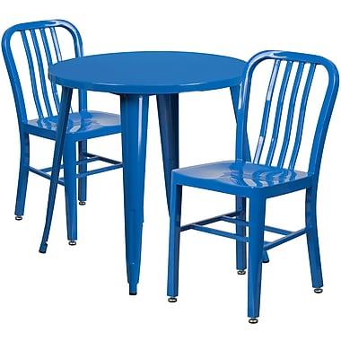 Table ronde de 30 po en métal avec 2 chaises à dossier à lattes verticales, int/ext, bleu (CH-51090TH-2-18VRT-BL-GG)
