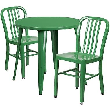 Ensemble de table ronde 30 po en métal vert avec 2 chaises à dossier à lattes verticales, int/ext [CH-51090TH-2-18VRT-GN-GG]