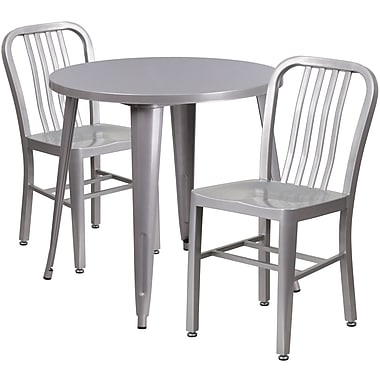 30'' Round Silver Metal Indoor-Outdoor Table Set with 2 Vertical Slat Back Chairs [CH-51090TH-2-18VRT-SIL-GG]